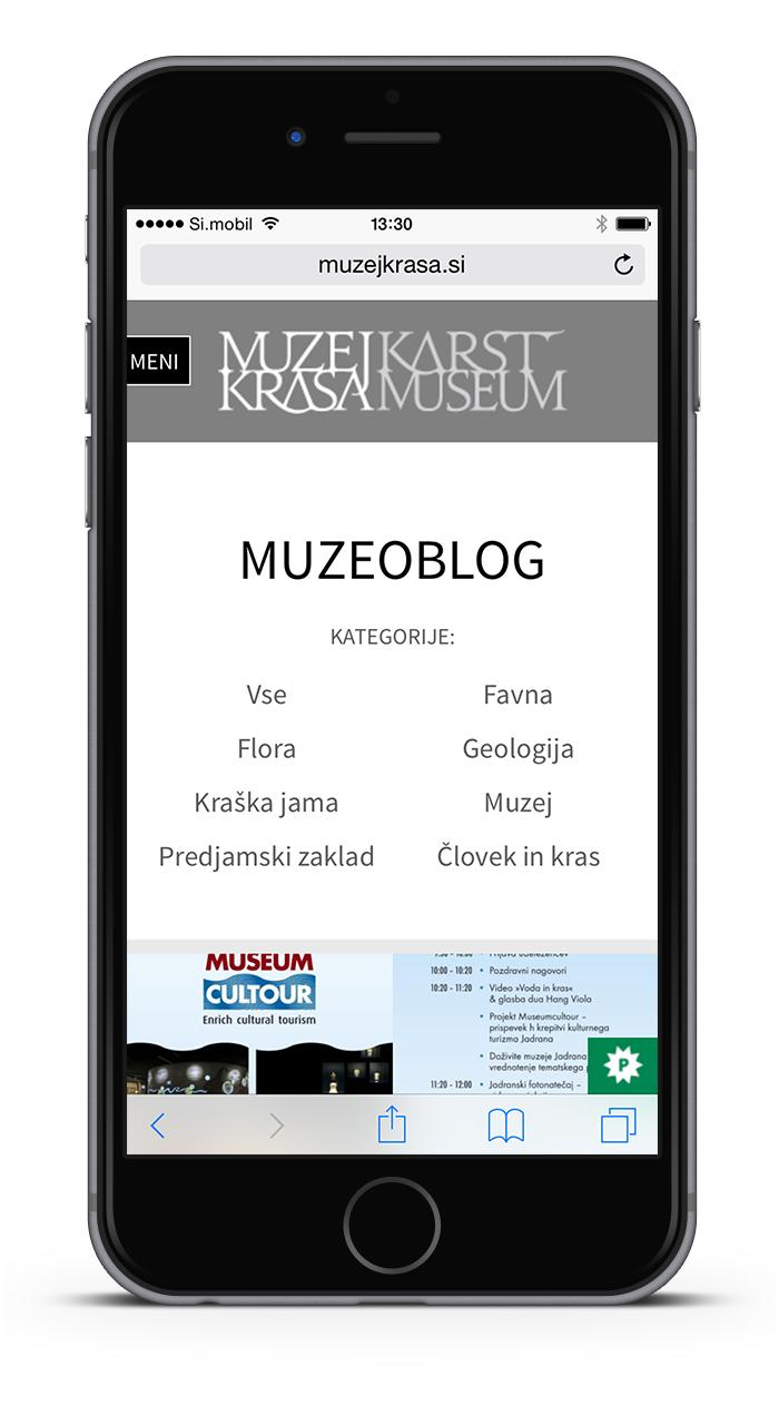 Muzej krasa mobile spletna stran