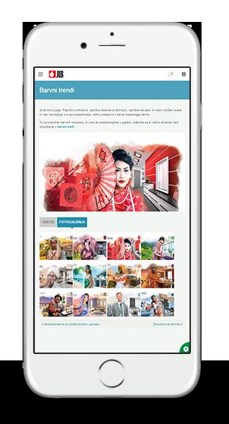 JUB spletna stran - odzivna grafika